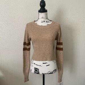 Olivaceous Cropped Stripe Sweater Wool Blend